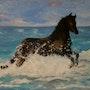 «Cheval Bord de Mer» Huile au pinceau sur toile de lin. Nad'ev