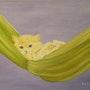 «Repos du Chat» Huile au pinceau sur toile de lin.