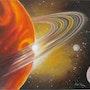 «La Planète» Huile au pinceau sur toile de lin. Nad'ev
