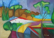 «La Route» Huile au pinceau sur toile de lin. Nad'ev