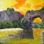 «Pont d'Arc» huile au pinceau sur toile de lin.