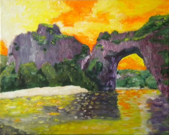 «Pont d'Arc» huile au pinceau sur toile de lin. Nad'ev Nad'ev