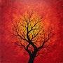 Tableau moderne : Silhouette d'arbre chaleureux. Jonathan Pradillon
