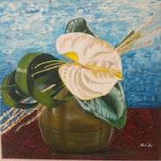 «Anthurium Blanc» huile au pinceau sur toile de lin.