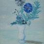 «Bouquet Bleu» huile au pinceau sur toile de lin. Nad'ev