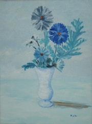 «Bouquet Bleu» huile au pinceau sur toile de lin.