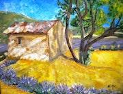 «Le Mazet» huile au pinceau sur toile de lin.