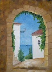 «Vue sur Mer» huile au pinceau sur toile de lin.