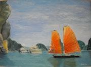 «Baie d'Along» huile au pinceau sur toile de lin.