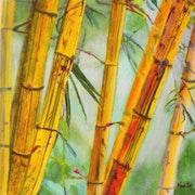 «Coin de Bambous» Acrylique.