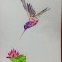 Colibri aux couleurs exotiques et nénuphar, aquarelle originale 18x25cm. Eiji