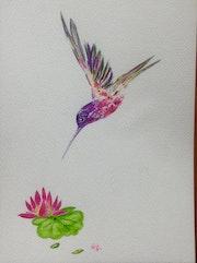 Colibri aux couleurs exotiques et nénuphar, aquarelle originale 18x25cm.