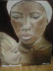 Femme senegalaise avec son bebe. Anne Delcampe