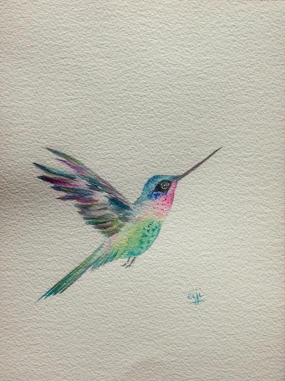 Colibri en vol aux couleurs chatoyantes, aquarelle originale 18x25cm. Eiji Eiji