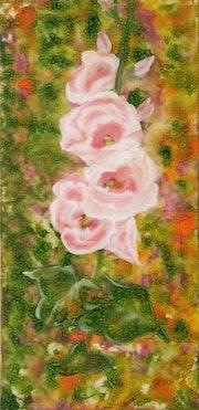 «Rose Trémière» Acrylique.