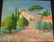 «Village Provençal» Acrylique.