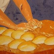 Peintures gourmandes Le travail du boulanger.