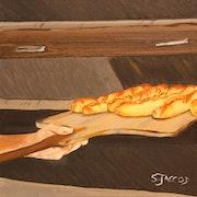 Peinture gourmandes Le travail du boulanger.