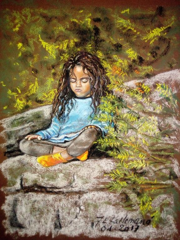 Lolo en méditation face à la montagne. Françoise-Elisabeth Lallemand Françoise-Elisabeth Lallemand
