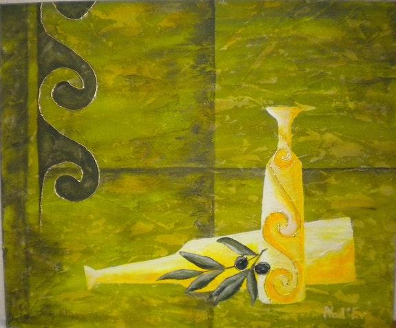 «Bouteilles et Olives» Acrylique. Nad'ev Nad'ev