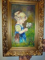«Ein kleines Mädchen pflückt Blumen».