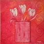 «3 Tulipes dans vase» Acrylique. Nad'ev