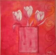 «3 Tulipes dans vase» Acrylique.