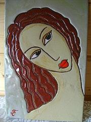 Tableau émaux cloisonnés «Portrait de Femme : Paloma». Zaz