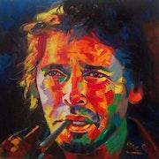 Jacques brel huile sur toile 80x80.