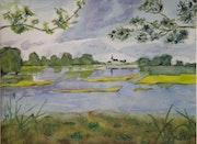«Hameau du Lac» Aquarelle.