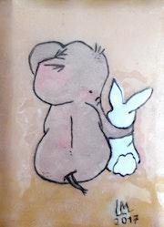 Côte à côte éléphant-lapin.
