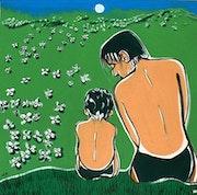 Confidences dans un champ de fleurs.