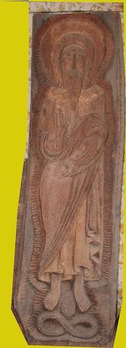 Sculpture sur bois Jesus Combattent le mal. Robert Willin