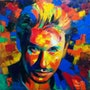 Johnny hallyday huile sur toile.