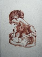 Maternité, dessin à l'encre.