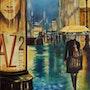 Scène de rue sous la pluie. Bernard Sannier