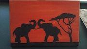 Tableau style africain éléphants.