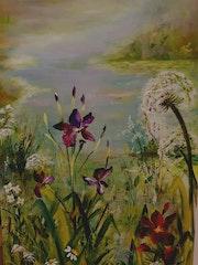 Iris d'eau au bord d'un étang.