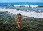 Niña en la orilla del mar. Óleos Y Acuarelas, Rubén De Luis