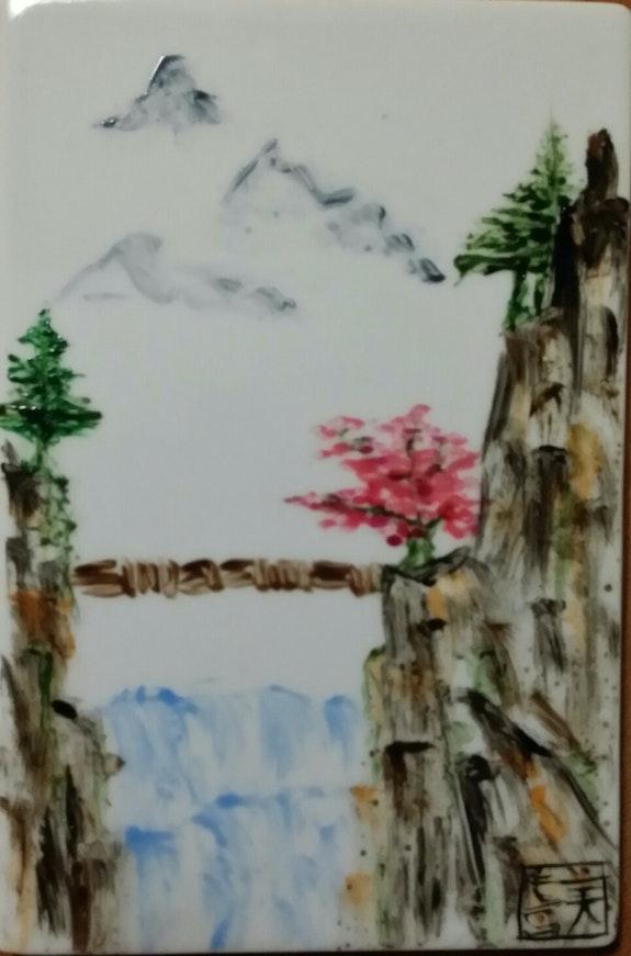 Le pont sur le torrent. Plume Magicienne, Peintre Xieyi Sur Porcelaine Plume Magicienne