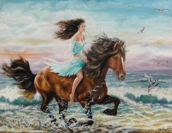 Cheval au galop en bord de mer. Enio Maccazzola Enio