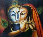 Divine Companions- Radha and Krishna. Neeruart