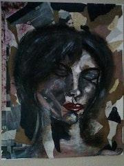 Regard intérieur : Acrylique et collage sur toile - 40x50.