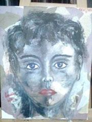 Beauté volée : Acrylique et collage sur toile - 40x50.