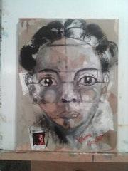 Vivre d'espoir : Acrylique et collage sur toile - 30x40.