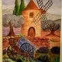 Paysage provençal (réalisé à l'aquarelle).