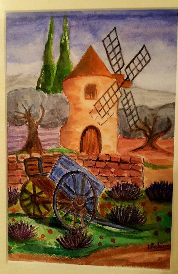 Paysage provençal (réalisé à l'aquarelle).  Nicole Retureau