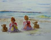 Les jumelles a la plage.