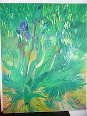Grand tableau iris. Iris Le Chat
