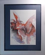 «Homme Fushia», Nu artistique, Aquarelle originale fine sur papier chiffon 300g. Chauvetdesign